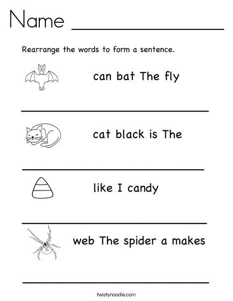 Rearrange The Words To Make A Sentence.   TwistyNoodle.com