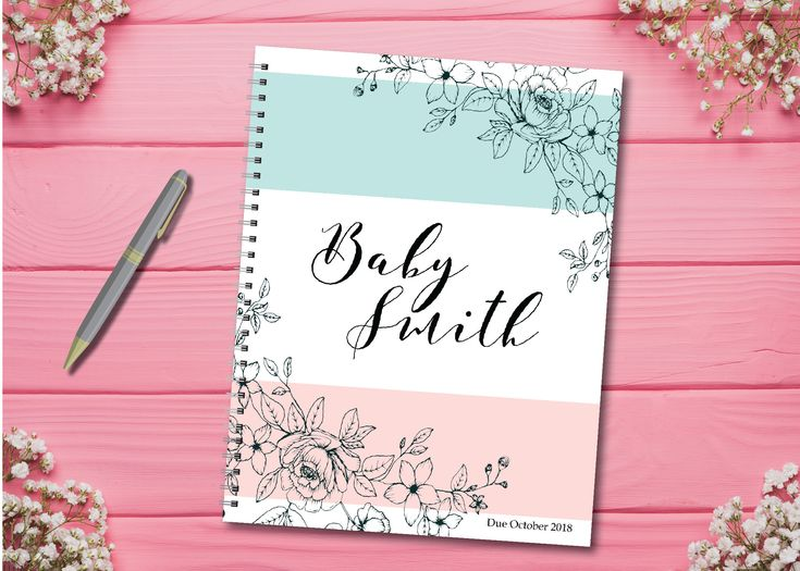 Personalized pregnancy diary with pre-made plans + diary layout, Pink …   – Pregnancy Journals