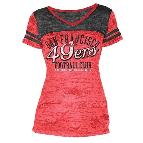 Touch San Francisco 49ers Nfl Burnout V Neck Football T Shirt Women's Multi | Top and Clothing