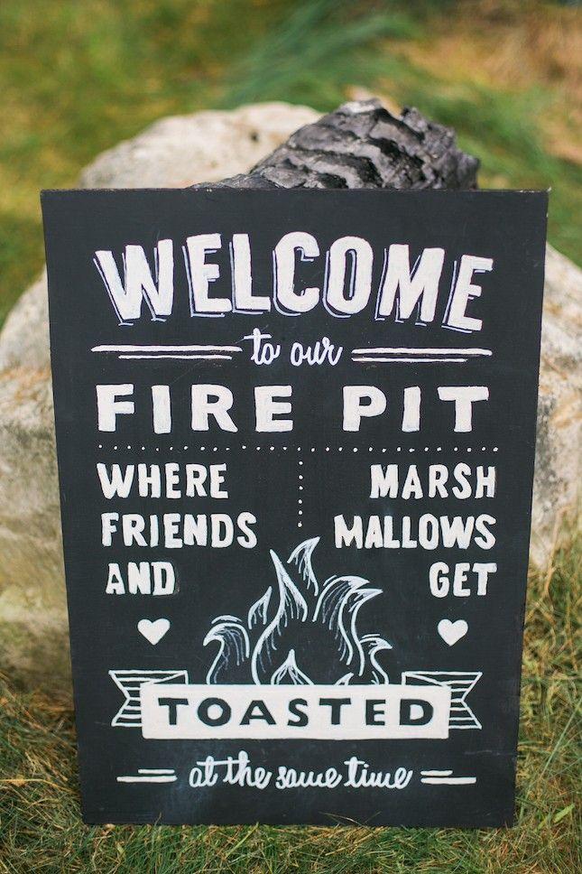 A fall outdoor wedding needs a fire pit.
