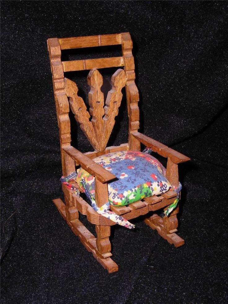 Folk Art Doll Rocking Chair Hand Made Clothes Pin Tramp Miniature Primitive