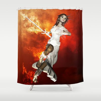 #Manga #girl with #swords #Shower #Curtain by nicky2342 - $68.00