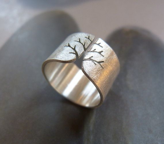 Trees always make me happy :: Autumn tree ring rustic Sterling silver ring by Mirma, $79.00
