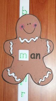 "Gingerbread Activities: Cute -an word family, gingerbread man ""slider"" craftivity.  What a fun way to practice -an words."
