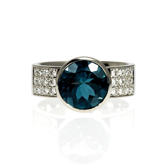 4.41ct London blue topaz engagement ring, diamond ring, teal engagement,pave, gold, bezel, solitaire, wide, wedding ring, blue wedding