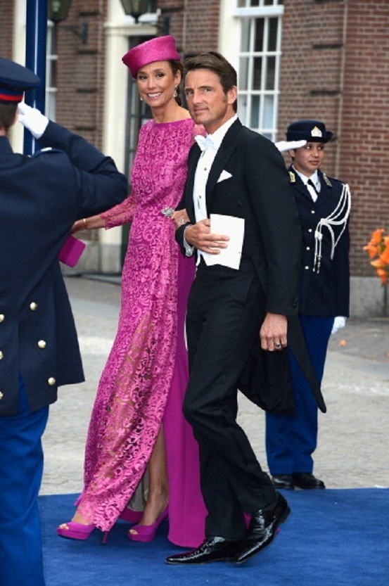 Prince Maurits of the Netherlands and his wife Princess Marie-Helene Angela van den Broek depart the Nieuwe Kerk to return to the Royal Palace after the Inauguration Of King Willem Alexander
