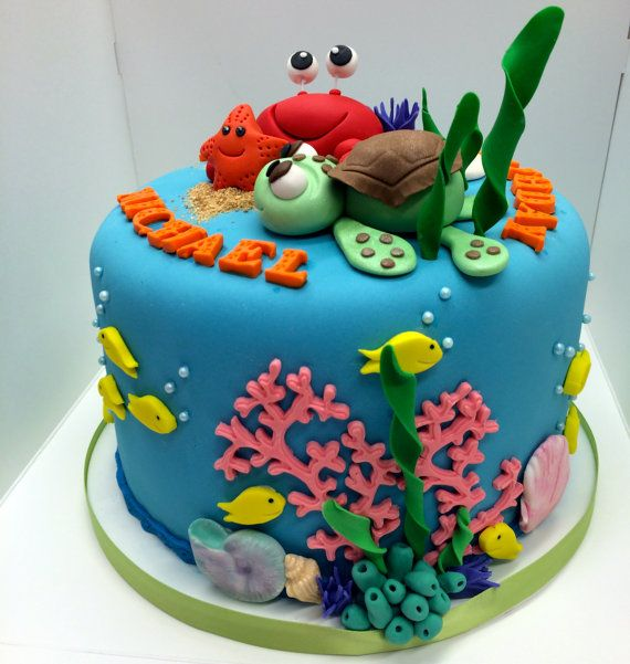 Edible Beach Themed Cake Decorations: Under The Sea Themed Cake Toppers For Your Cake. Includes