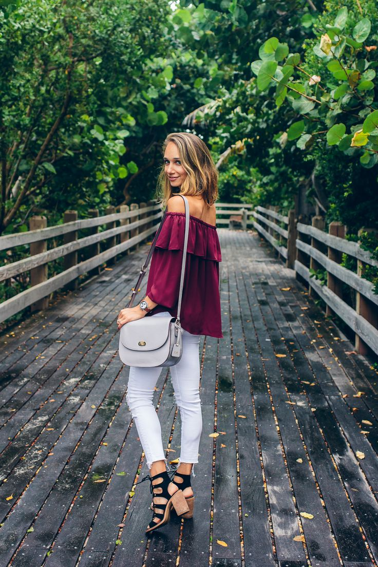 Off the shoulder top + white jeans + black lace up heels