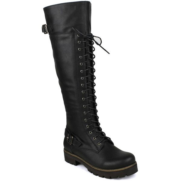 Fahrenheit women's Isabel-06 Lace-up and Buckle Detailed Women's... ($50) ❤ liked on Polyvore featuring shoes, boots, black, leather work boots, black boots, black riding boots, combat boots e knee-high lace-up boots