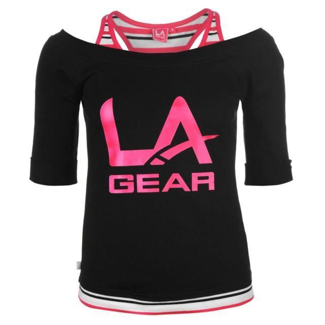 LA Gear Ladies Mock Layer Tee Blouse Top Clothing