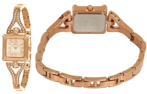 GUESS U0137L3 Rose Gold-Tone Retro Glamour Watch