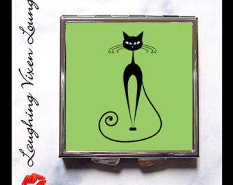 Черный кот компактное зеркало Стиль F - Pill Box - Вы выбрать цвет - Black Cat Зеркало - Kitty Kitten Mirror - Pill Case дота - Бен Коллекция
