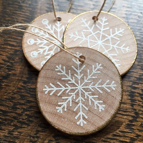 These Embossed Snowflakes on Wood slices - make great Christmas ornaments or even gift tags
