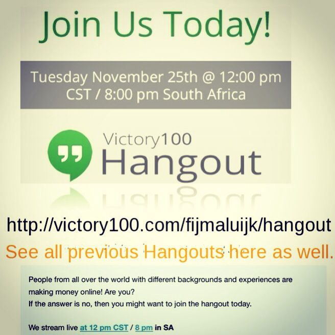 Join for a #live #hangout #MlmOpportunity in #Victory100 View all the #previous #hangouts here as well #whatis this #socialmedia #company all about #free #videorecordings #seeitall #follow link in pic #extraincome #residualincome #networkmarketing #online http://victory100.com/fijmaluijk/hangout