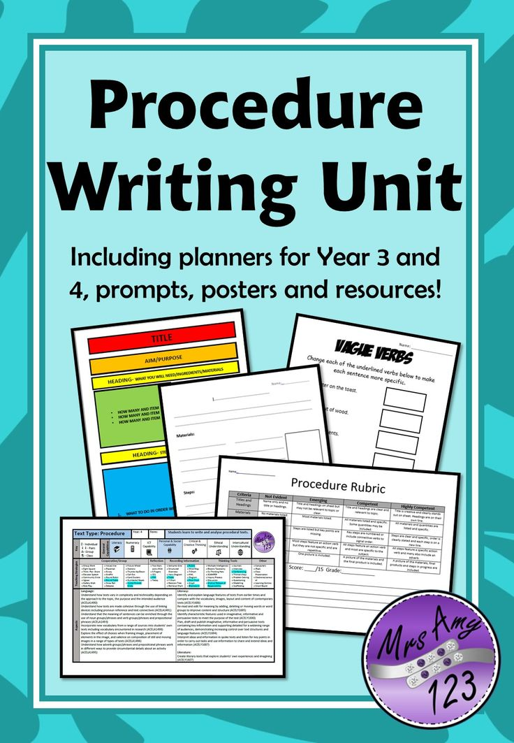 Procedure Writing Unit Year 3 and 4- ACARA Aligned