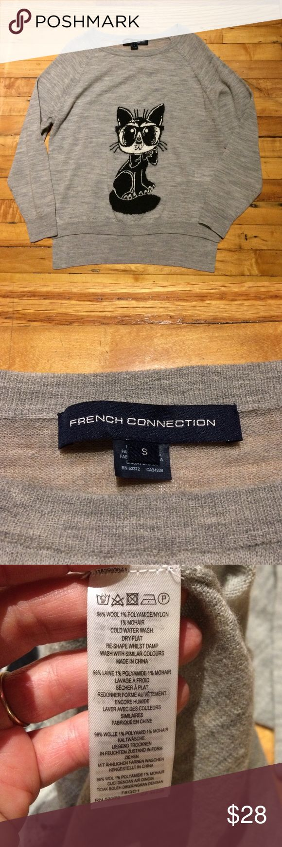 """French Connection sweater Gray wool cat sweater by French Connection. Very soft and comfortable. Size S. In extremely good used condition with no holes, stains, or pills. About 2"""" longer in back than front. Looks great with leggings. French Connection Sweaters"""