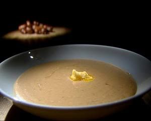 Chestnut soup with smoked butter and bacon garnish | Recipe