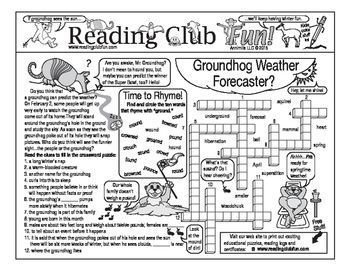 Enjoy a Groundhog Day and Weather-themed Two-Page Activity Set and Crossword Puzzle with this discounted bundle! Includes the following products:  • Groundhog Day and Weather Two-Page Activity Set • Groundhog Day and Weather Crossword Puzzle • Groundhog Day and Weather Reading Log and Certificate Set
