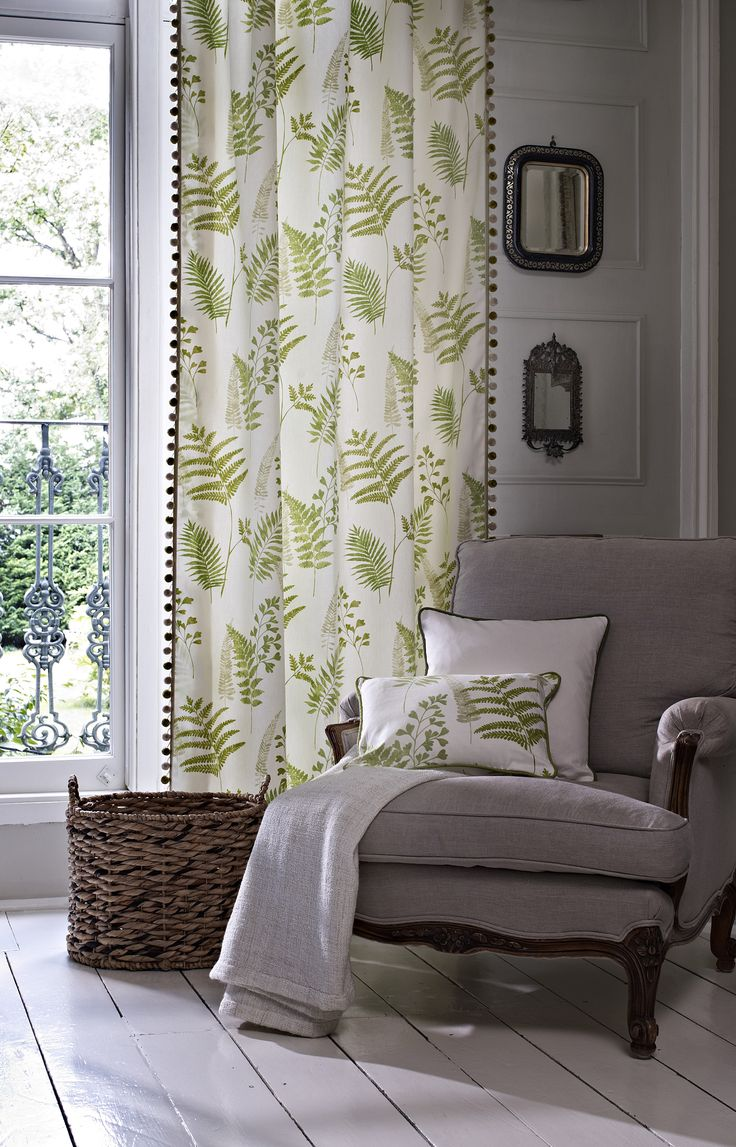 Clover & Thorne Green Leaf Curtains #cloverandthorne #homedecor #curtains #green #leaves #tropical