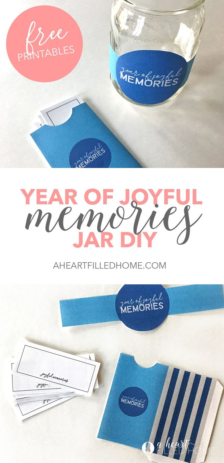 New Years Joyful Memory Jar DIY from A Heart Filled Home. Visit aheartfilledhome.com for the free printables!