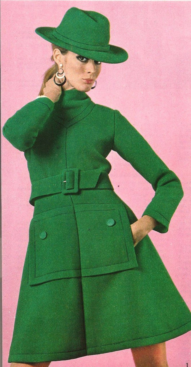 60s Fashion green wool coat dress high neckline long sleeves matching belt and hat cowl winter mod looks