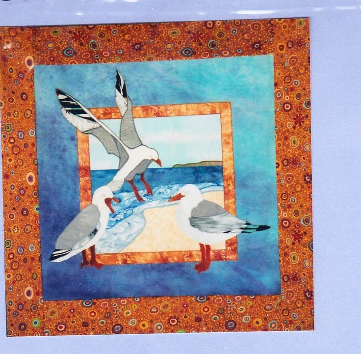 Silver Seagulls - applique art quilt PATTERN - Australian bird series