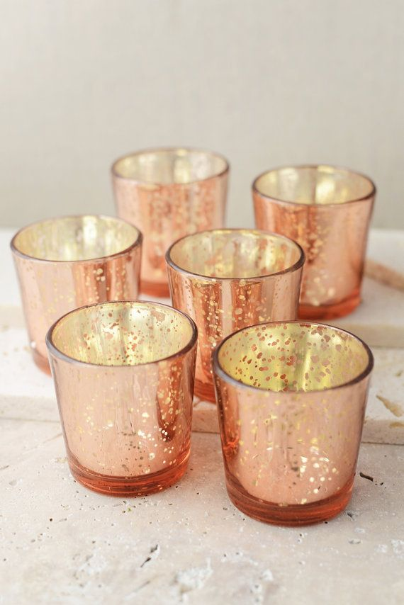 For a radiate charm with a vintage glow, these votives are your answer. These Mercury Glass votives candle holders can create a luxurious look by putting them together are using them individually. Speckled candlelight with golden hues will bring warmth and glamour to your decor.  Perfect for any special occasion, weddings, receptions, and events. The mercury look on each votive allows little sparkle of light shine through.   Dimensions: 2.1(W) x 2.5(H), opening is 1.75 for each piece…