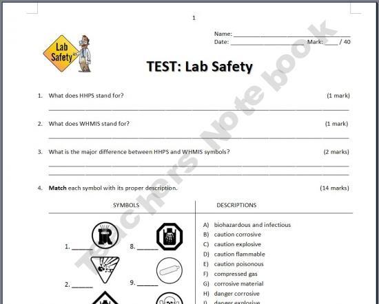 High School Science Lab Safety Symbols