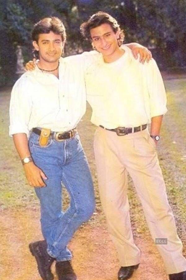 Aamir Khan and Saif Ali Khan pose