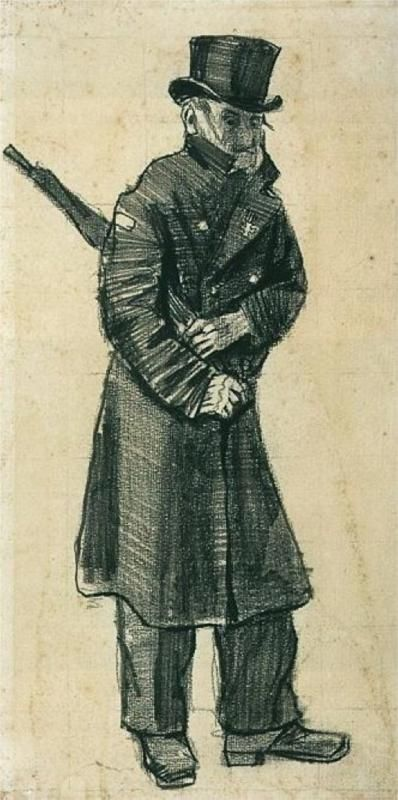 Orphan Man with Top Hat and Umbrella Under his Arm, 1882 by Vincent van Gogh
