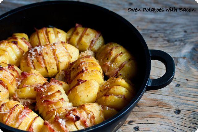 πατάτες φούρνου με μπέικον και κεφαλοτύρι