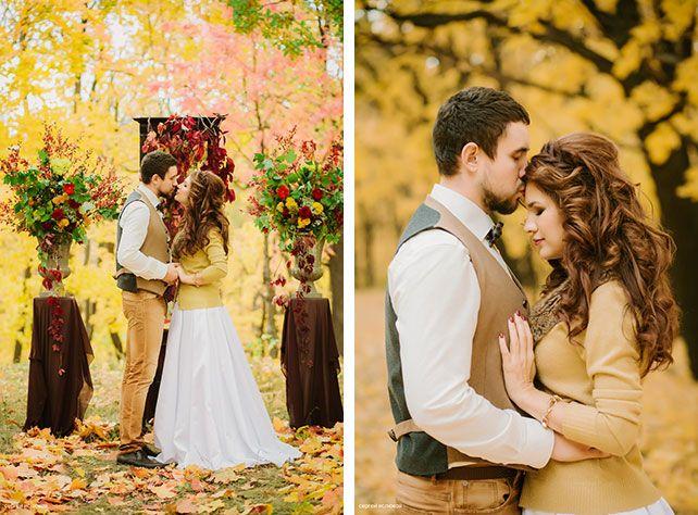 Винтажный шик, роскошная осенняя свадьба в лесу, фотосессия жениха и невесты
