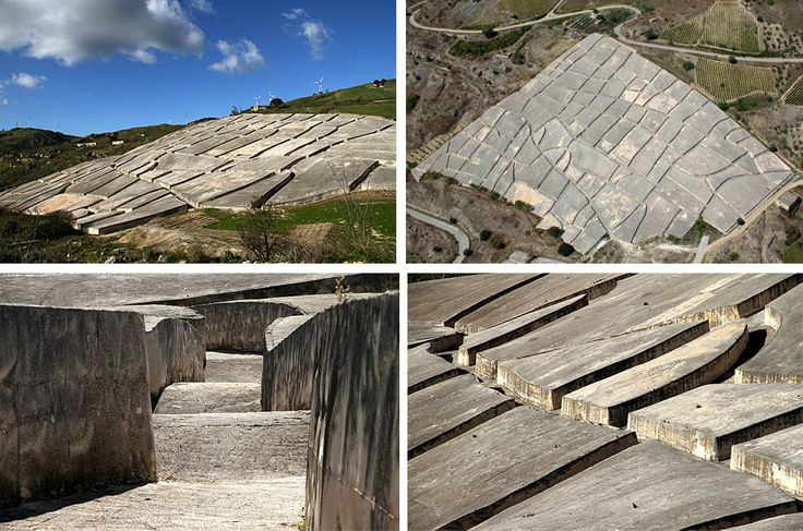 Ruderi di Gibellina or Grande Cretto in Sicily, after the earthquake in 68 Artist Alberto Burri covered the entirety of the ruins in concrete, while preserving the shape of the buildings and the streetscape. Reminds me of Eisenmans project in Santiago and Berlin.