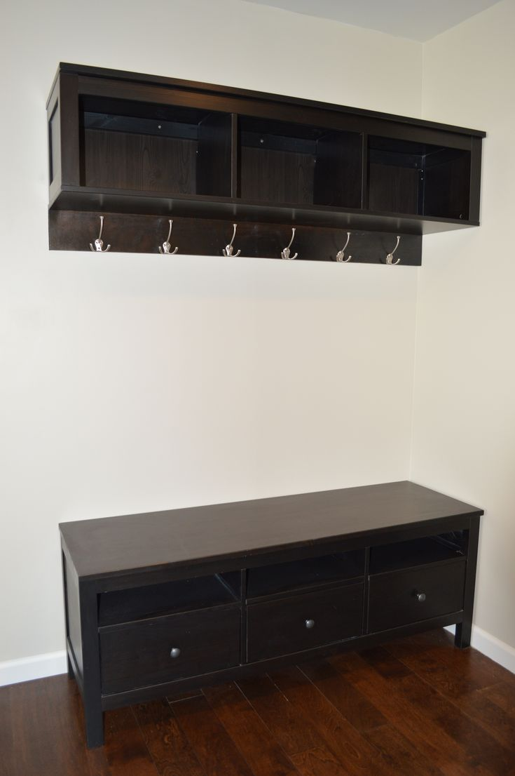Elegant Dark Brown Storage Bench With Coat Rack With 6
