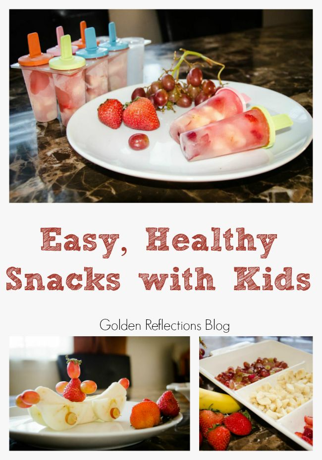A recipe for real fruit pops and other easy healthy snacks with kids. www.GoldenReflectionsBlog.com