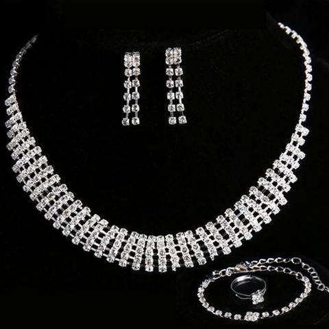 4 Piece Silver Austrian Rhinestone Bridal Set - UCHARMME.co.nz