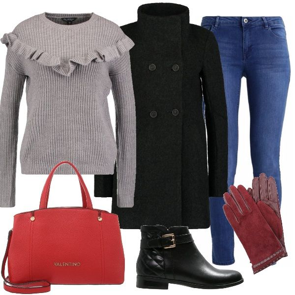 Outfit perfetto per tutti i giorni, con jeans slim fit abbinato a delizioso maglione grey con rouches e a cappotto corto jet black. Come accessori ho scelto tronchetti black con fibbia, borsa a mano di un bel colore rosso e guanti granat. Sarete comode e sempre alla moda.