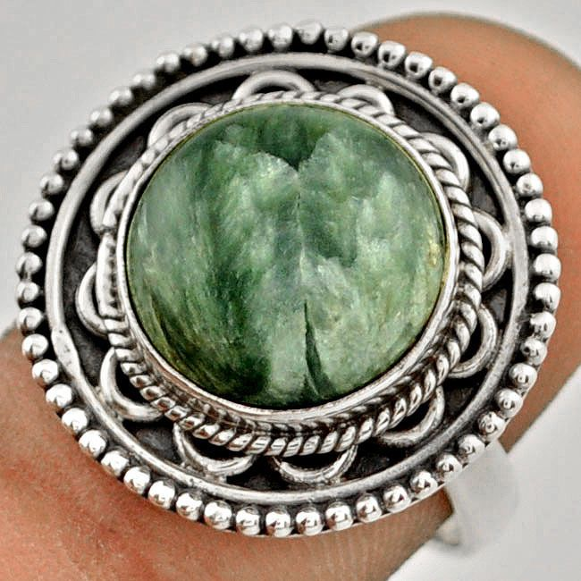 7.53cts NATURAL GREEN SERAPHINITE .925 STERLING SILVER RING size 7.5 C88969 #JEWELEXI #RingHarness