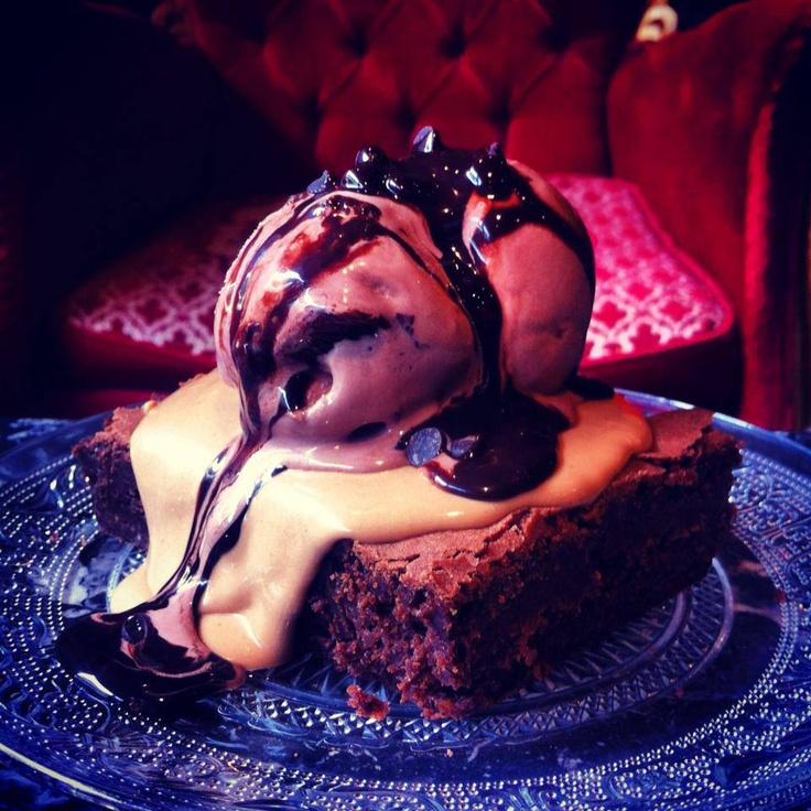 Chocolate Mud pie with Ice cream.