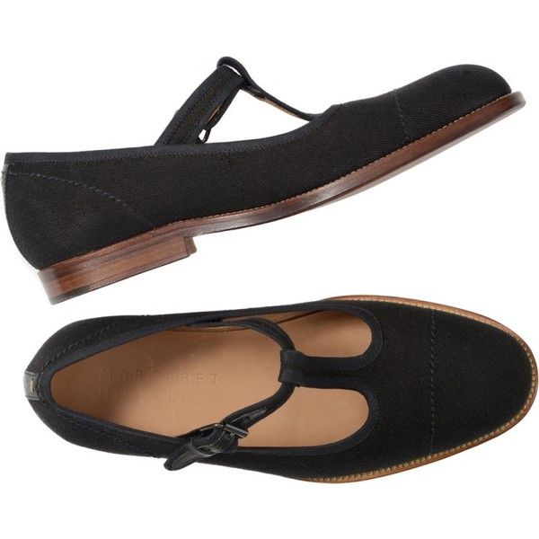 T BAR SHOE (9,525 HNL) ❤ liked on Polyvore featuring shoes, flats, leather sole shoes, flat heel shoes, cotton shoes, t strap shoes and t strap flat shoes