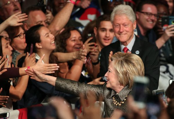 Democratic presidential candidate Hillary Clinton arrives with her husband former President Bill Clinton at a primary night campaign event April 26, 2016 in Philadelphia, Pennsylvania. Early results indicated Clinton would win Pennsylvania's presidential primary.