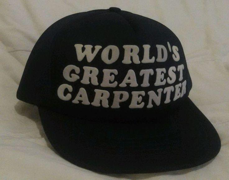 Vintage WORLDs GREATEST CARPENTER Blue Snap Back Trucker Style Hat Adjustable