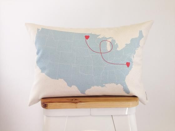Heart to Heart Location Pillow- could be done with needle and thread