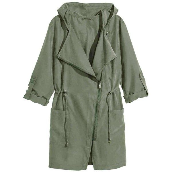 Yoins Khaki Green Trench Coat with Hood ($33) ❤ liked on Polyvore featuring outerwear, coats, jackets, coats & jackets, green, utility coat, khaki trench coat, hooded trenchcoat, lightweight coat and green trench coat