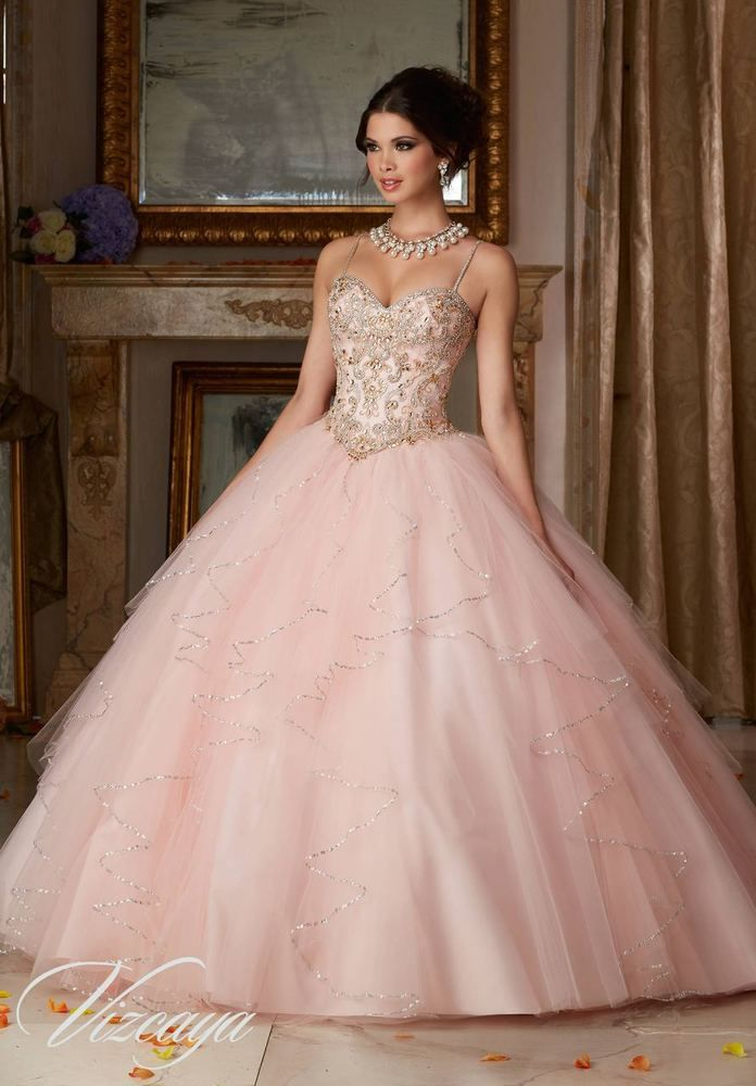 Jeweled Beading on a Flounced Tulle Ball Gown 89101