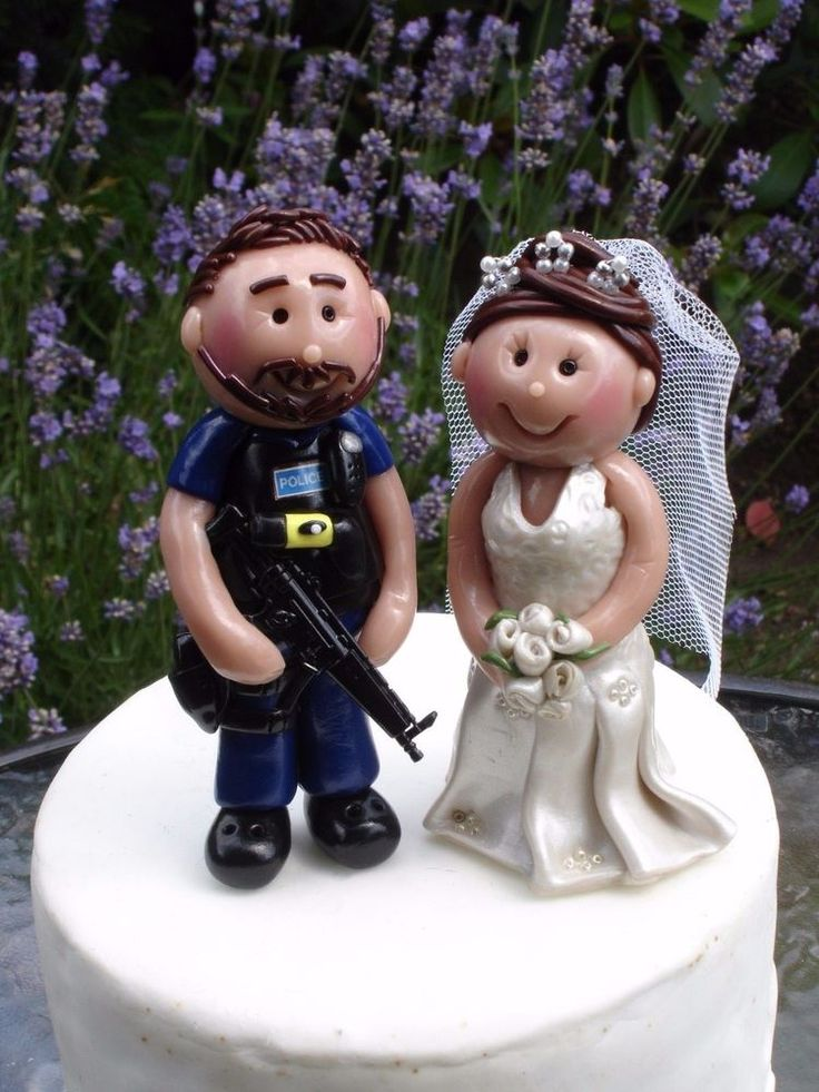 Police Cake Topper . Personalised Bride & Groom- by Jillybeans cake toppers