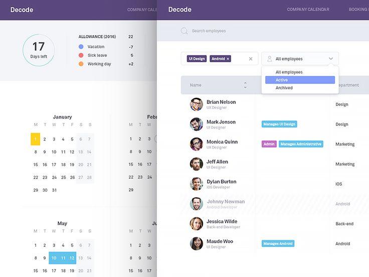 Hr Manager - Employees & My Calendar  by Kreativa Studio #Design Popular #Dribbble #shots