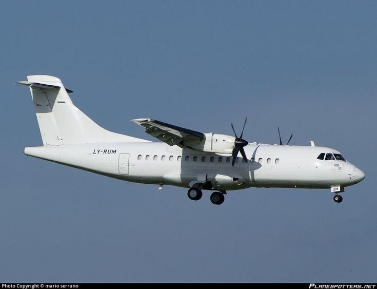 DOT LT ATR 42-300 LY-RUM aircraft, on short finals to Italy Rome Fumicino Leonardo da Vinci International Airport. 06/04/2013.