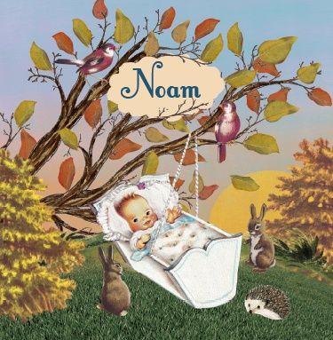 Geboortekaartje Noam - Baby in wiegje in herfst landschap - retro vintage geboortekaartje - Petit Konijn