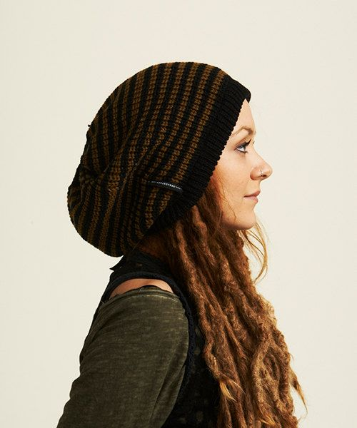 Black, light brown thin striped rasta tam / dreadlocks hat M, its nice and cosy!